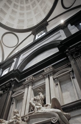 Tomb of Lorenzo de'Medici (Duke of Urbino), close side view, looking up from the right side