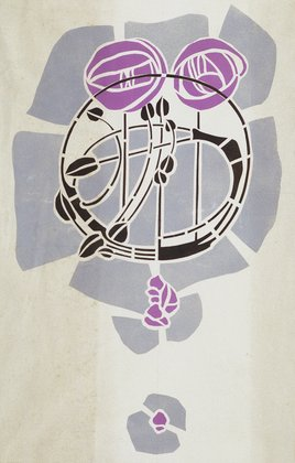 "Modern Reproduction from Original Mackintosh Stencil for Wall Decoration; Rose motif, poster color on cartridge paper; 14 x 22""; (1902)"