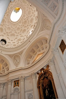 Interior, San Carlo alle Quattro Fontane, view of the dome looking up